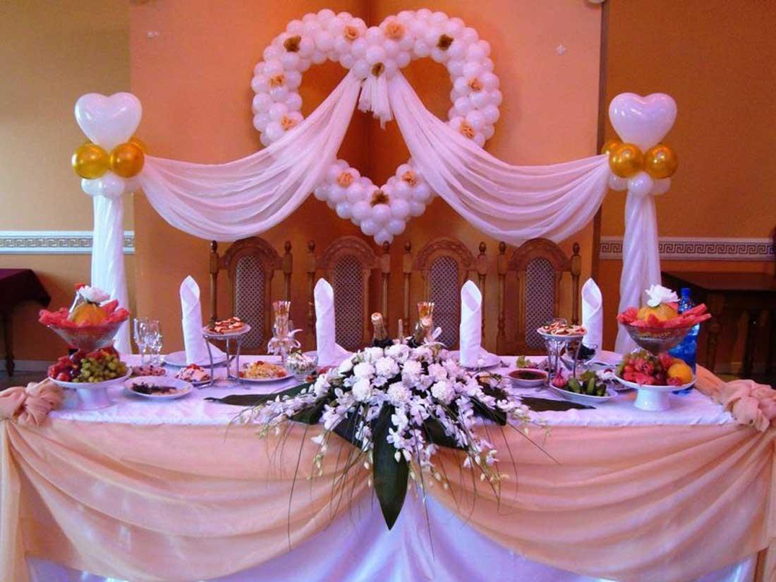Как украсит свадебный стол шарами