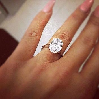 Кольцо с бриллиантом на пальце