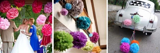 Бумажные декорации для свадьбы фото