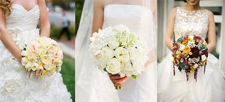 Свадебные букеты в виде водопада