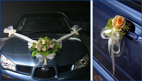 Украшение машин на свадьбу живыми цветами
