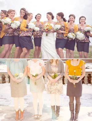Невеста подружки осенние платья