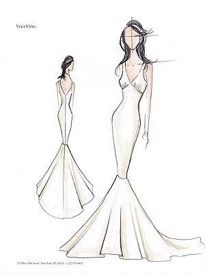 Наброски карандашные свадебных платьев